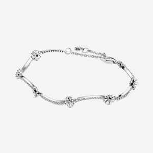 Daisy sterling silver bracelet with clear cubic zirconia