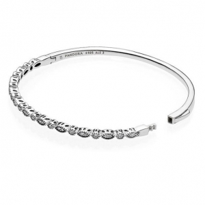 Silver bangle with clear cubic zirconia