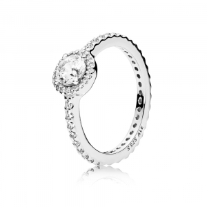 Round silver ring with clear cubic zirconia