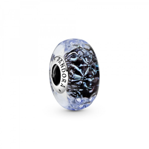 Wavy sterling silver charm with iridescent and dark blue Murano glass