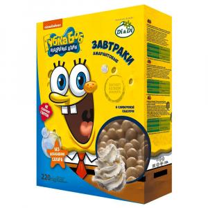 Завтраки амарантовые Губка Боб (Спанч Боб)  в сливочной глазури, витамизированные, 220гр
