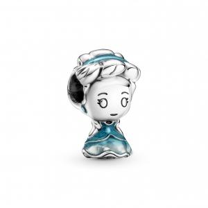 Disney Cinderella sterling silver charm with transparent mosaic blue enamel