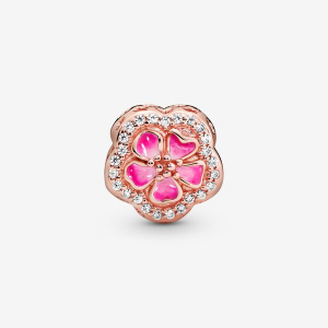 Flower Pandora Rose charm with clear cubic zirconia and pink enamel