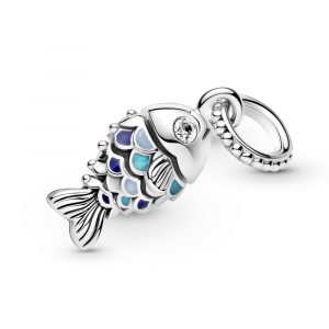 Fish sterling silver dangle with clear cubic zirconia, true navy, capri blue and pastel blue enamel