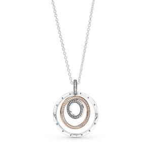 Pandora logo interlocking circles sterling silver and Pandora Rose pendant with clear cubic zirconia and necklace