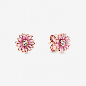 Daisy Pandora Rose stud earrings with clear cubic zirconia and shaded pink enamel