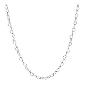 Joined hearts silver necklace