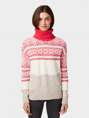 sweater modern intarsia, dawn pink, XL