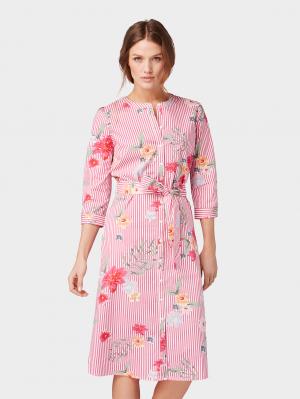 flower st, pink striped floral print, 36