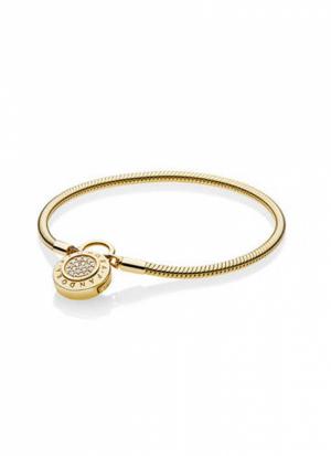 PANDORA Shine snake chain bracelet and PANDORA logo padlock clasp with clear cubic zirconia
