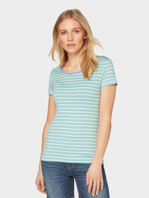 T-shirt striped, green stripe, XS