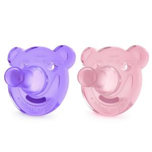Цельно-силиконовая пустышка Philips Avent Мишка для девочек 0-3м 2 шт