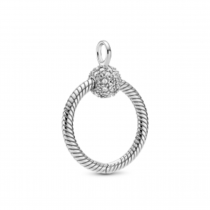 Small sterling silver Pandora O pendant with clear cubic zirconia
