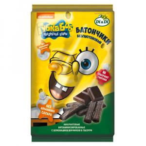 Батончики безглютеновые Губка Боб (Спанч Боб) с шоколадной начинкой витаминизированные 110г