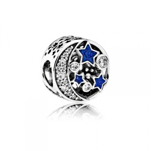Moon and star silver charm with clear cubic zirconia and blue enamel