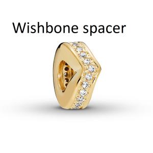 Wishbone PANDORA Shine spacer with clear cubic zirconia