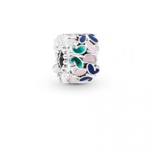 Butterfly silver clip with green, blue and pink enamel
