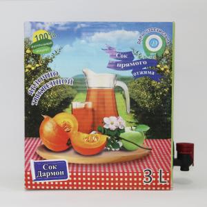 Сок яблочно-тыквенный пастеризованный 3л (Bag-in-Box),в картонной коробке