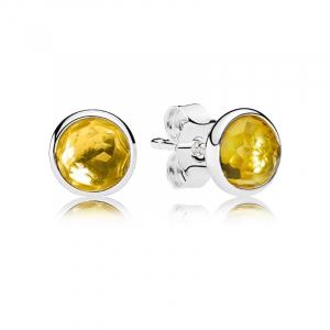 November birthstone silver stud earrings with citrine