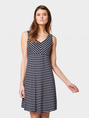 my amazing knot dress, navy stripe, 34