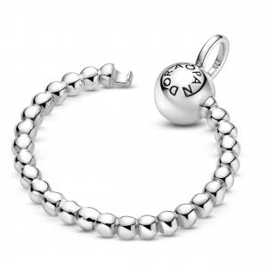 Small beaded sterling silver Pandora O pendant