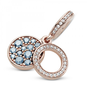 Circle and disc Panndora Rose dangle with icy blue and bleached aqua blue crystal and clear cubic zirconia