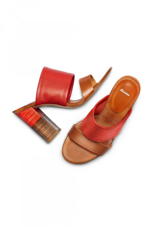 BATA. SANDAL OPEN TOE AND HEEL WITH HIGH HEEL, COLOR.RED/TAN