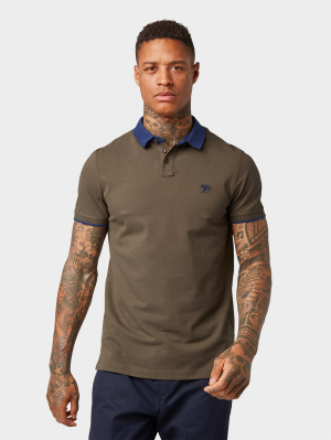 piquee polo w. cont, Dark Olive Green, M