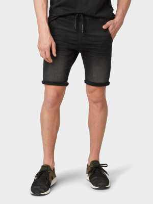 black sweat denim shorts, black denim, S