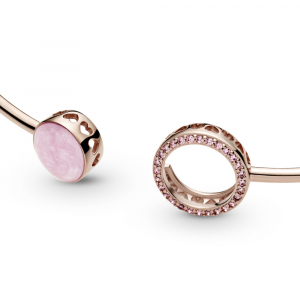 Pandora Rose bangle with Fancy fairy tale pink cubic zirconia and rose enamel