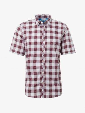 ray washed, washed red printed check, M