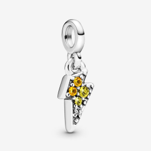 Lightning bolt sterling silver dangle charm with blazing yellow, golden orange crystal and clear cubic zirconia