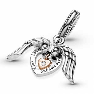 Heart and wings sterling silver and Pandora Rose dangle with 0.009 ct TW GHI  SI1+ round brilliant-cut man-made diamond
