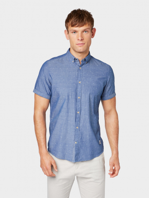 floyd, blue chambray scattered dobby, M