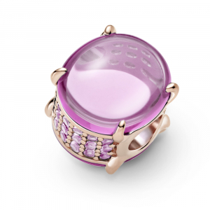 Pandora Rose charm with synthetic pink sapphire and rosebloom pink crystal