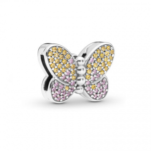 Pandora Reflexions butterfly silver clip charm with honey cubic zirconia and rose pink crystal