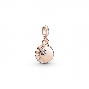 Bottle cap 14k rose gold-plated mini dangle with clear cubic zirconia