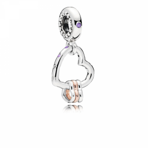 Heart silver and PANDORA Rose dangle with lilac crystal, royal purple crystal and clear cubic zirconia