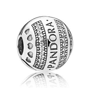PANDORA logo silver clip with clear cubic zirconia and silicone grip