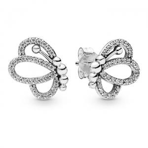 Openwork butterfly silver stud earrings with clear cubic zirconia