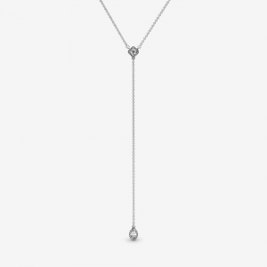 Sterling silver Y-necklace with clear cubic zirconia