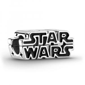 Star Wars logo sterling silver charm with black enamel
