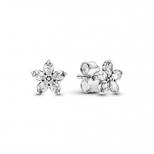 Snowflake sterling silver stud earrings with clear cubic zirconia