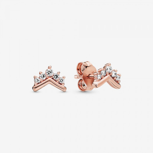 Tiara wishbone Pandora Rose stud earrings with clear cubic zirconia