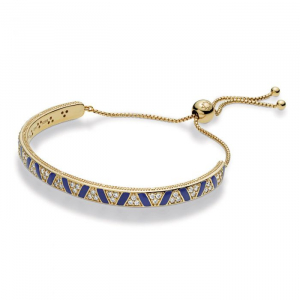 Pandora Shine sliding bracelet with clear cubic zirconia and blue enamel