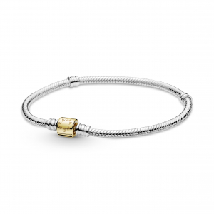 Snake chain sterling silver bracelet with 14k gold clasp