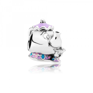 Disney Mrs. Potts and Chip silver charm with purple, pink and blue enamel