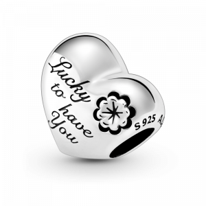 Mum, clover and heart sterling silver charm