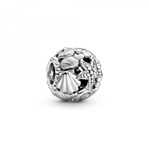 Shell and starfish sterling silver charm