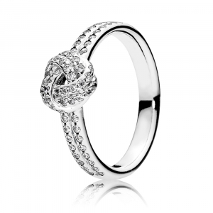 Love knot silver ring with clear cubic zirconia